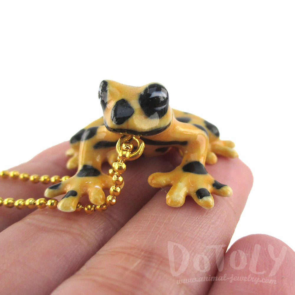 DOTOLY Handmade Porcelain Yellow and Black Frog Pendant Necklace Ceramic