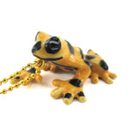 Handmade Yellow Panamanian golden frog shaped Porcelain Pendant