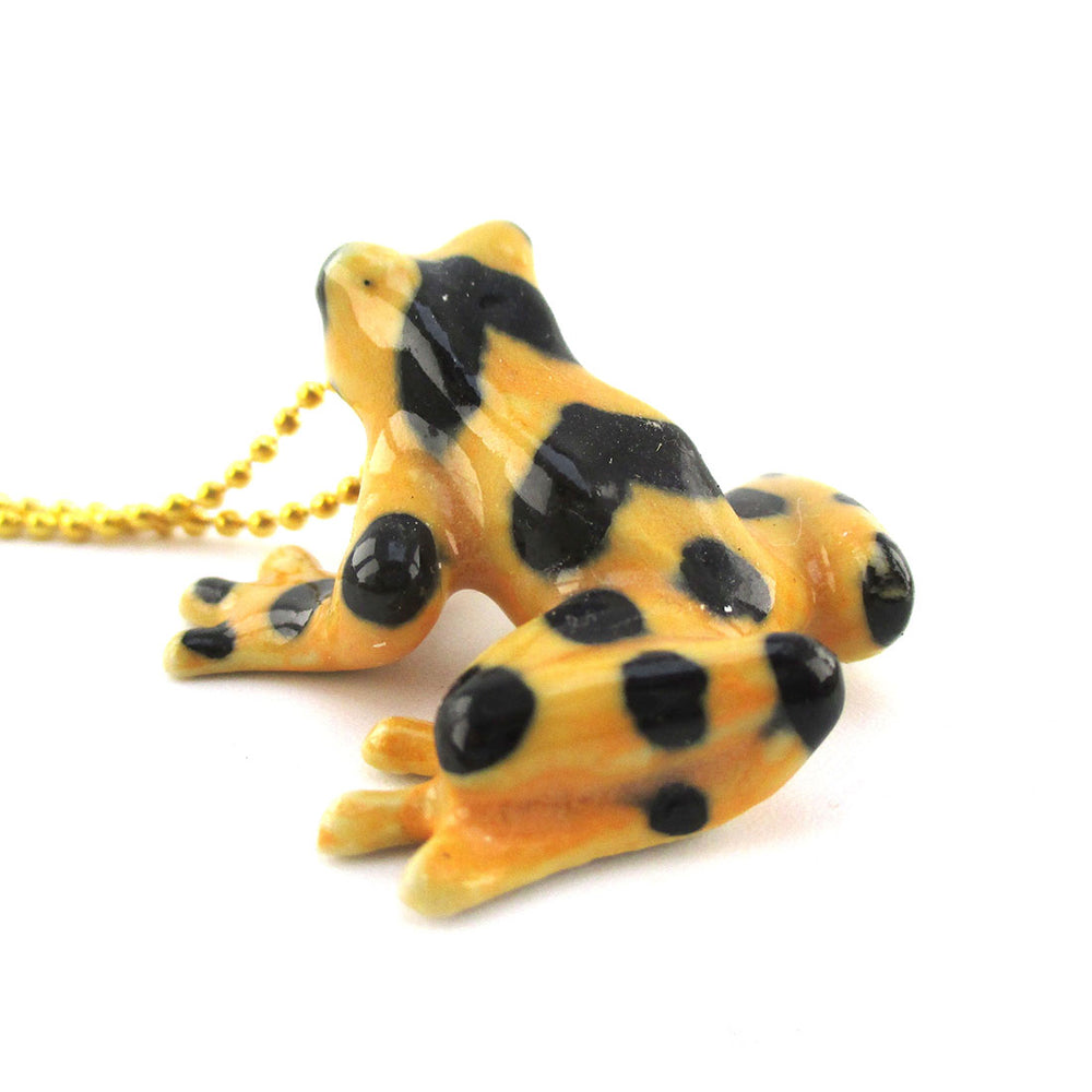 3D Porcelain PANAMANIAN GOLDEN FROG Shaped Ceramic Animal Pendant Necklace