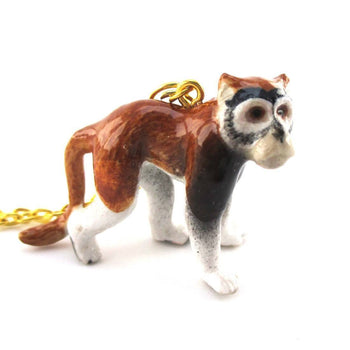 3D Porcelain Patas Wadi Monkey Shaped Ceramic Pendant Necklace