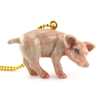 Porcelain Pink Piglet Pig Farm Animal Shaped Ceramic Pendant Necklace
