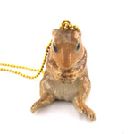 3D Porcelain Prairie Dog Groundhog Shaped Ceramic Pendant Necklace