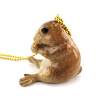 3D Porcelain Prairie Dog Gopher Shaped Ceramic Pendant Necklace