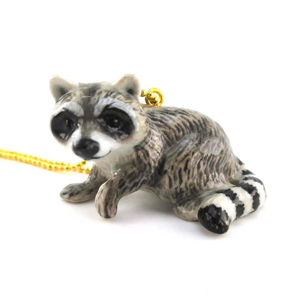 3D Porcelain Raccoon Trash Panda Shaped Ceramic Pendant Necklace
