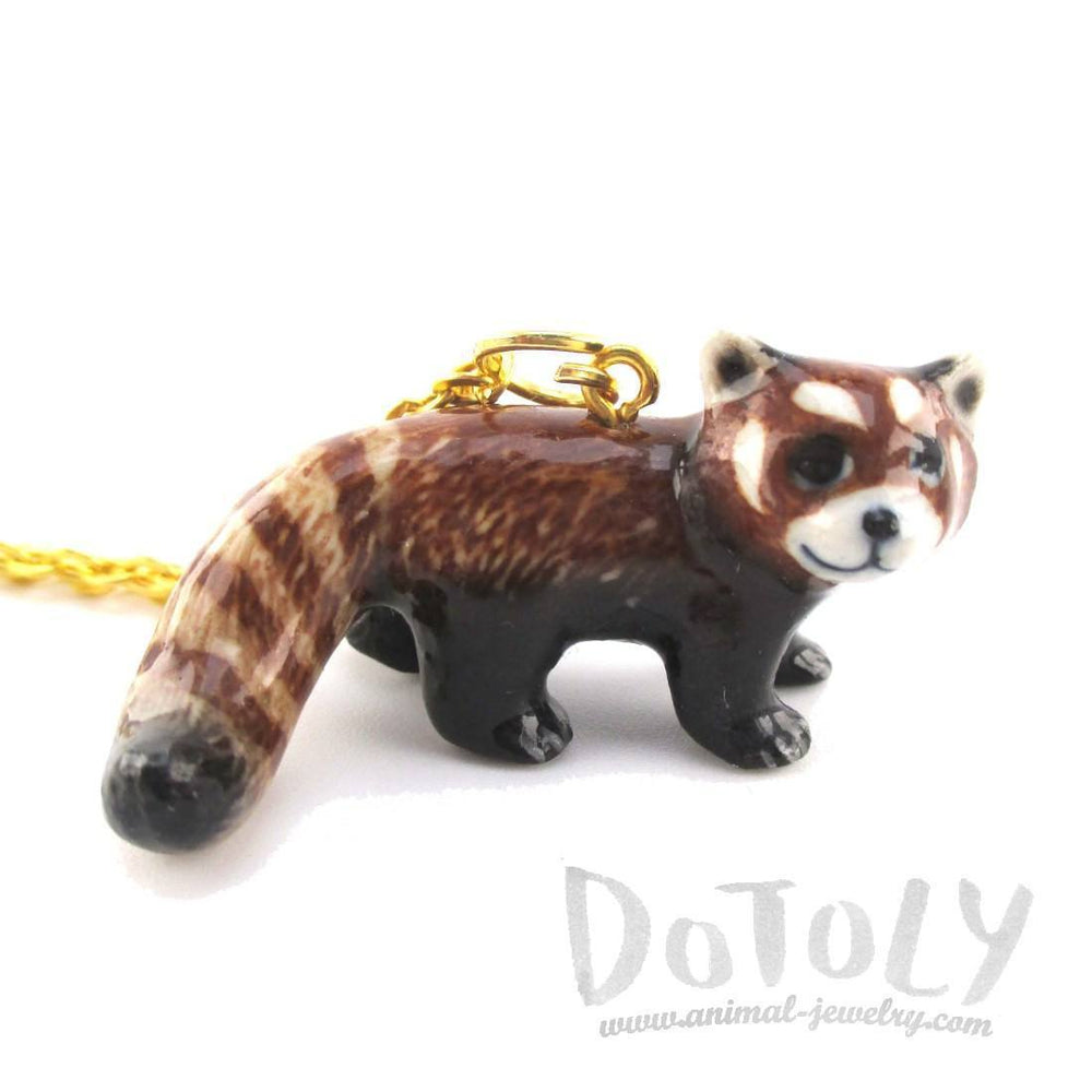 3D Porcelain Red Panda Shaped Ceramic Pendant Necklace | DOTOLY