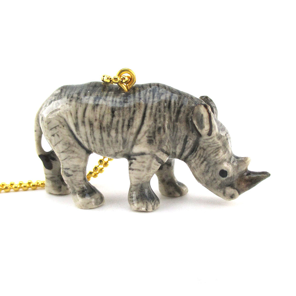 3D Porcelain Rhinoceros Rhino Shaped Ceramic Pendant Necklace