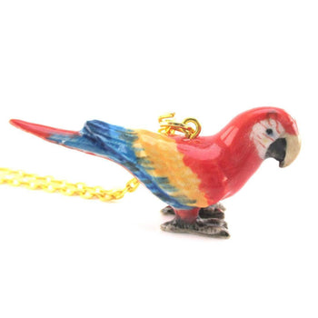 3D Porcelain Scarlet Macaw Parrot Pendant Necklace | Animal Jewelry