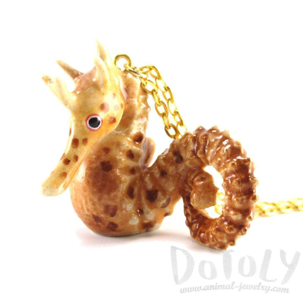 3D Porcelain Seahorse Shaped Hand Painted Ceramic Animal Pendant Necklace | Handmade | DOTOLY