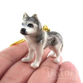 3D Porcelain Siberian Husky Dog Shaped Ceramic Animal Pendant Necklace