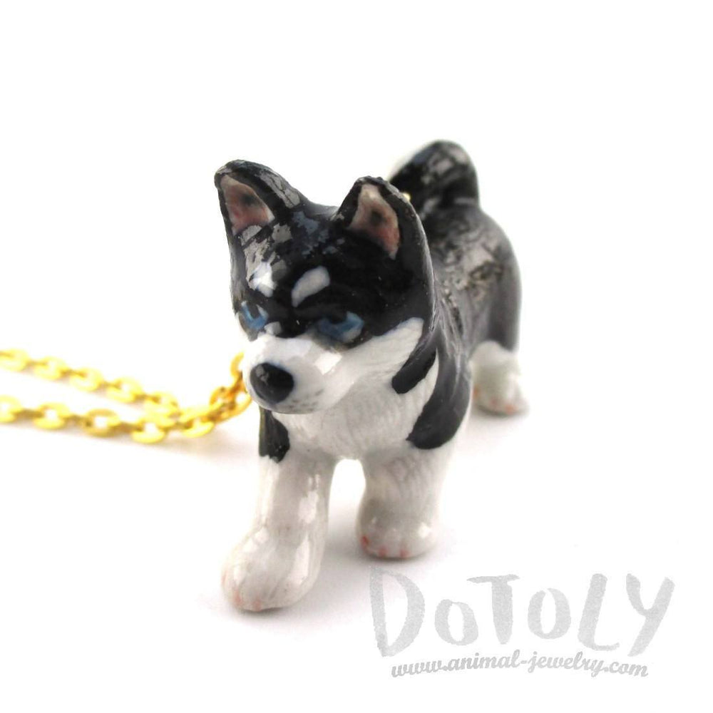 3D Porcelain Siberian Husky Puppy Shaped Ceramic Pendant Necklace