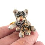 3D Porcelain Siberian Tiger Cub Shaped Ceramic Pendant Necklace