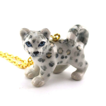 3D Porcelain Snow Leopard Cub Shaped Ceramic Pendant Necklace | DOTOLY