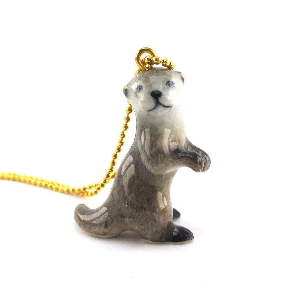 Super Cute Standing Otter Shaped Pendant Necklace Handmade