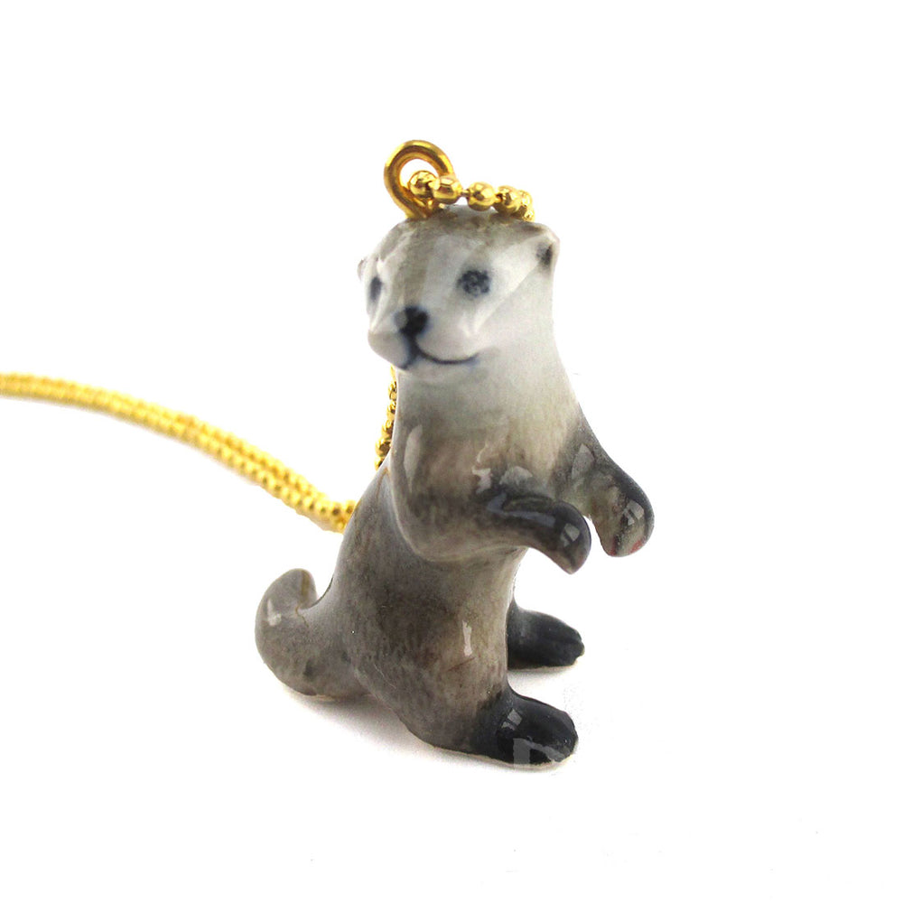 DOTOLY Handmade Porcelain Sea Otter Baby Ceramic Necklace