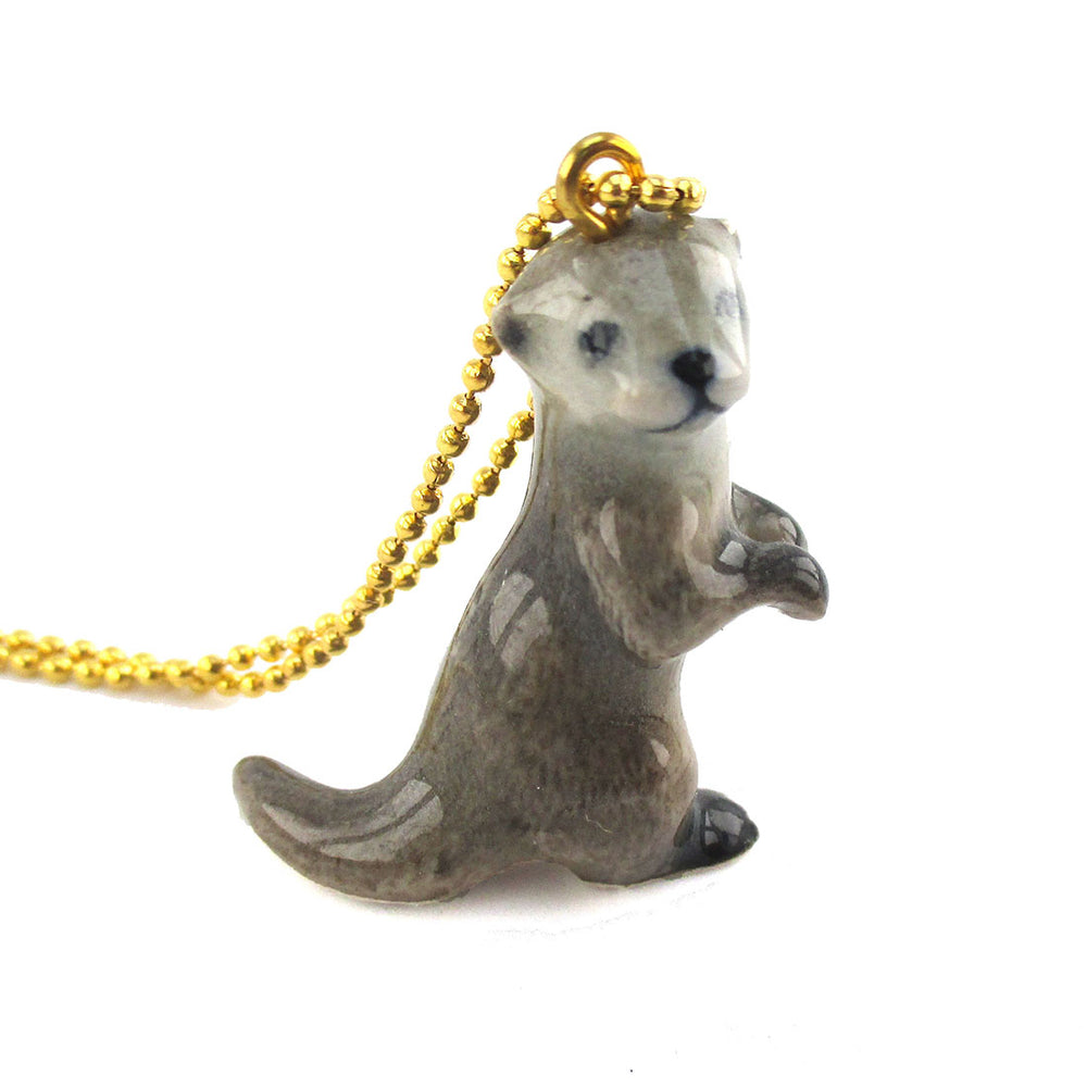 3D Porcelain Standing Sea Otter Shaped Ceramic Animal Pendant Necklace