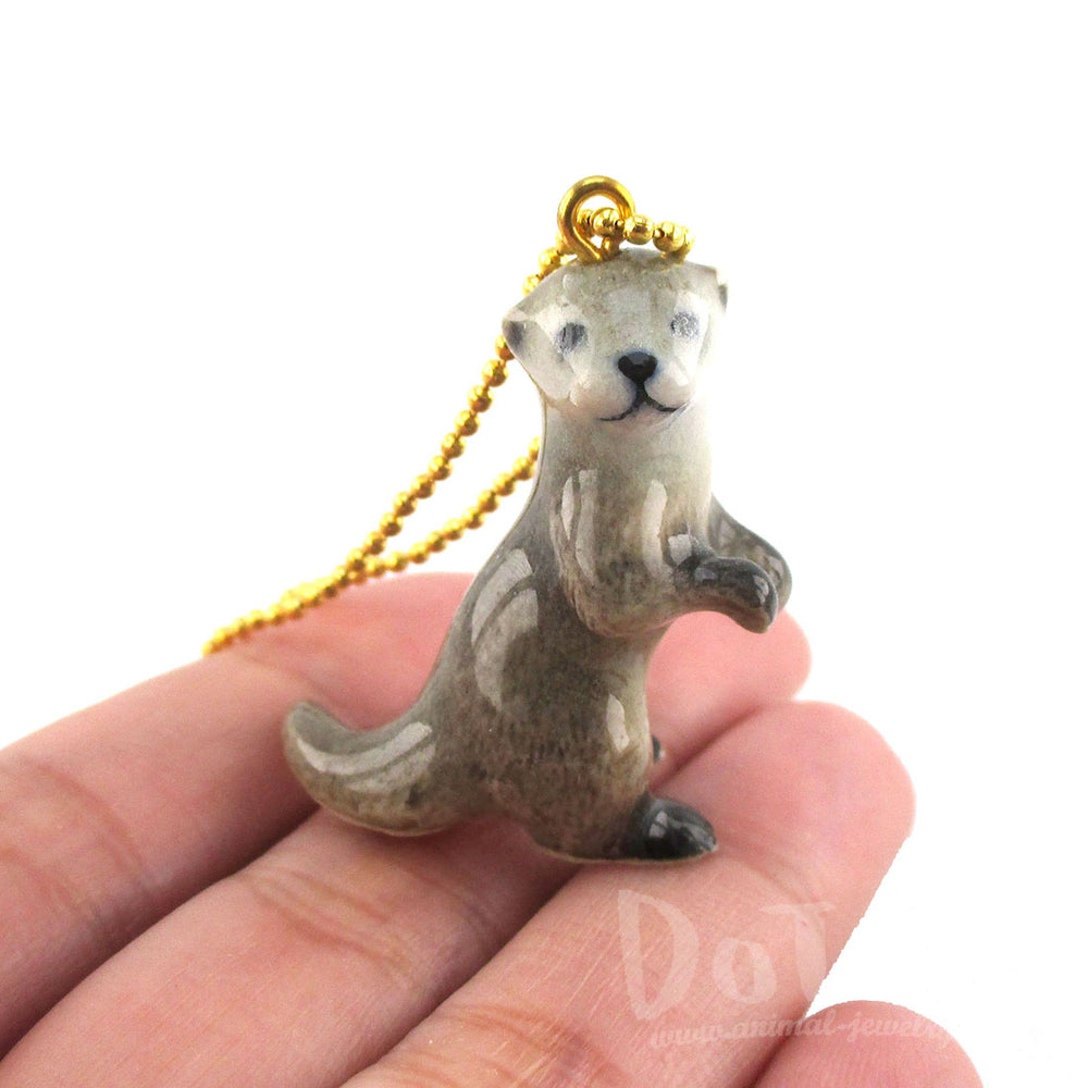 3D Porcelain Standing Otter Shaped Ceramic Pendant Necklace