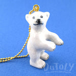 3D Porcelain Standing Polar Bear Cub Shaped Ceramic Pendant Necklace