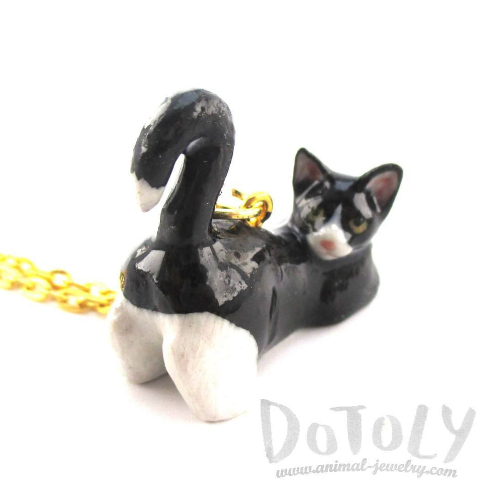 3D Porcelain Tuxedo Kitty Cat Animal Inspired Ceramic Pendant Necklace