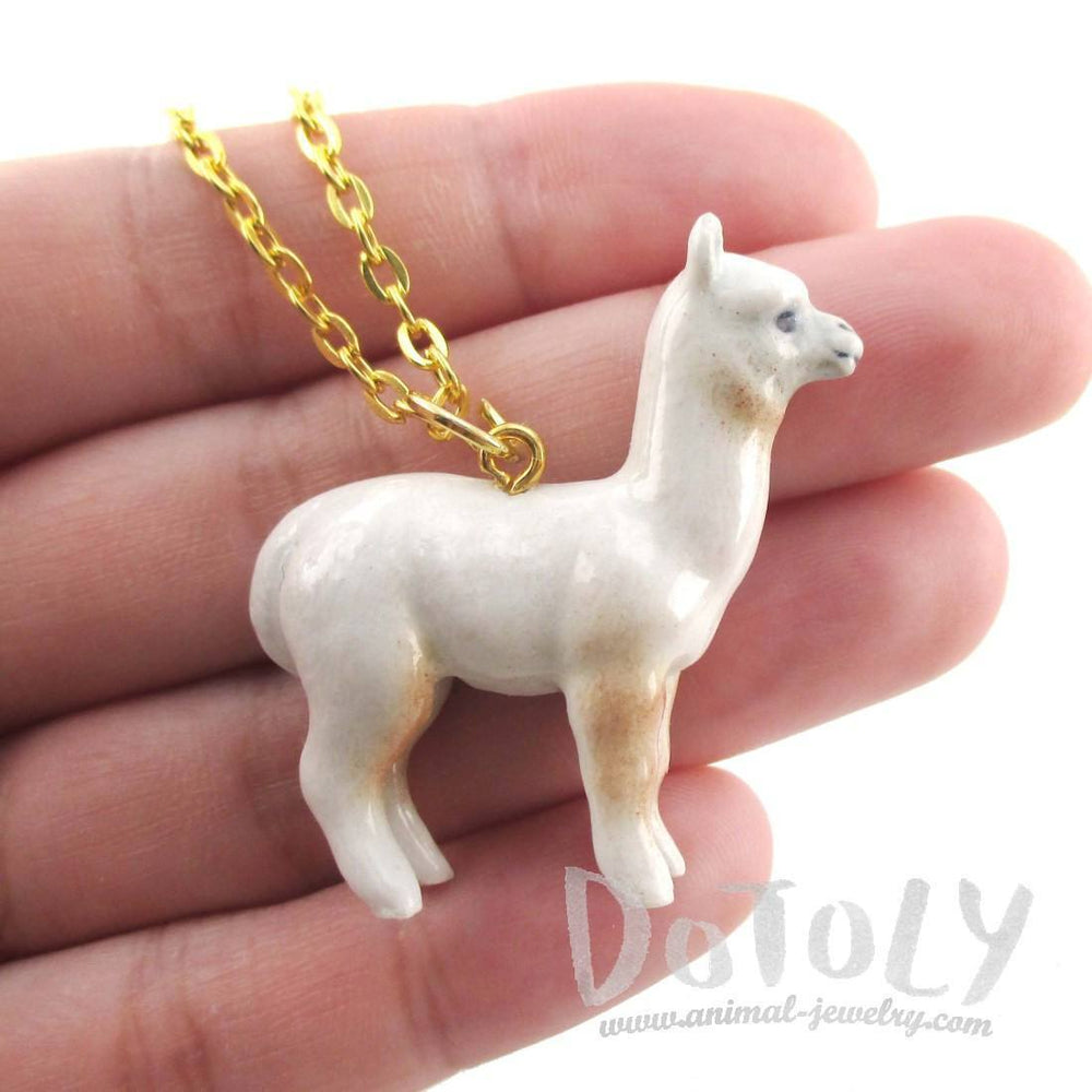 3D Porcelain White Alpaca Llama Shaped Ceramic Pendant Necklace