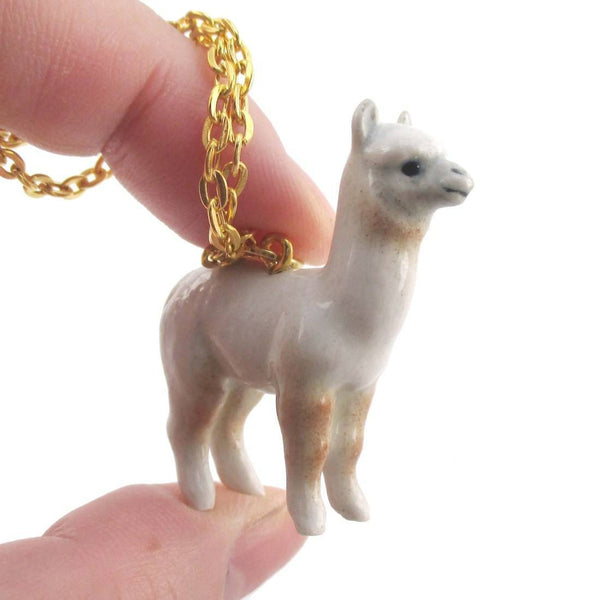 3d Porcelain White Alpaca Llama Shaped Ceramic Pendant