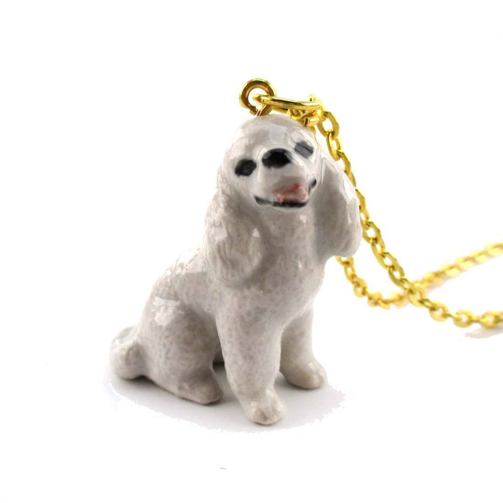 3D Porcelain White Toy Poodle Shaped Ceramic Pendant Necklace | DOTOLY