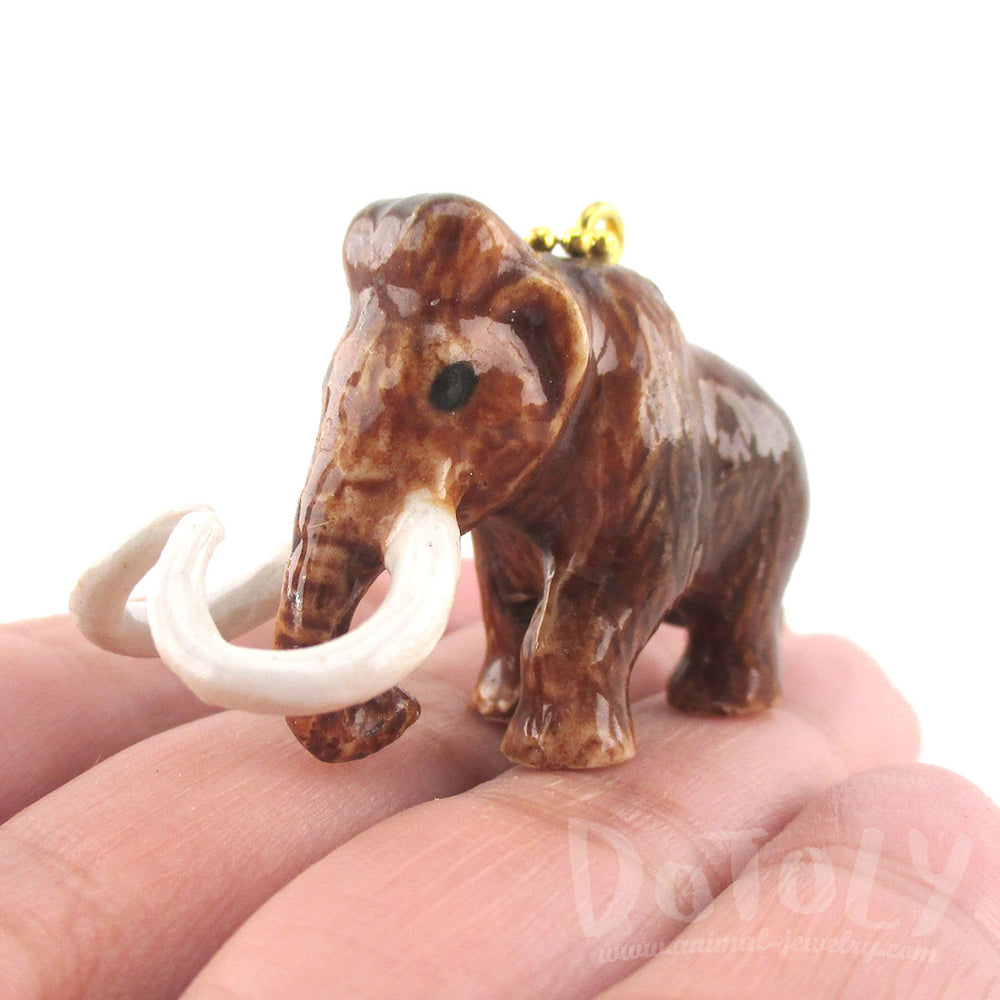 3D Porcelain Woolly Mammoth Shaped Ceramic Animal Pendant Necklace