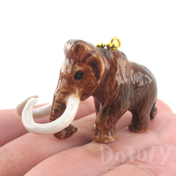 DOTOLY Handmade Porcelain Woolly Mammoth Ceramic Necklace