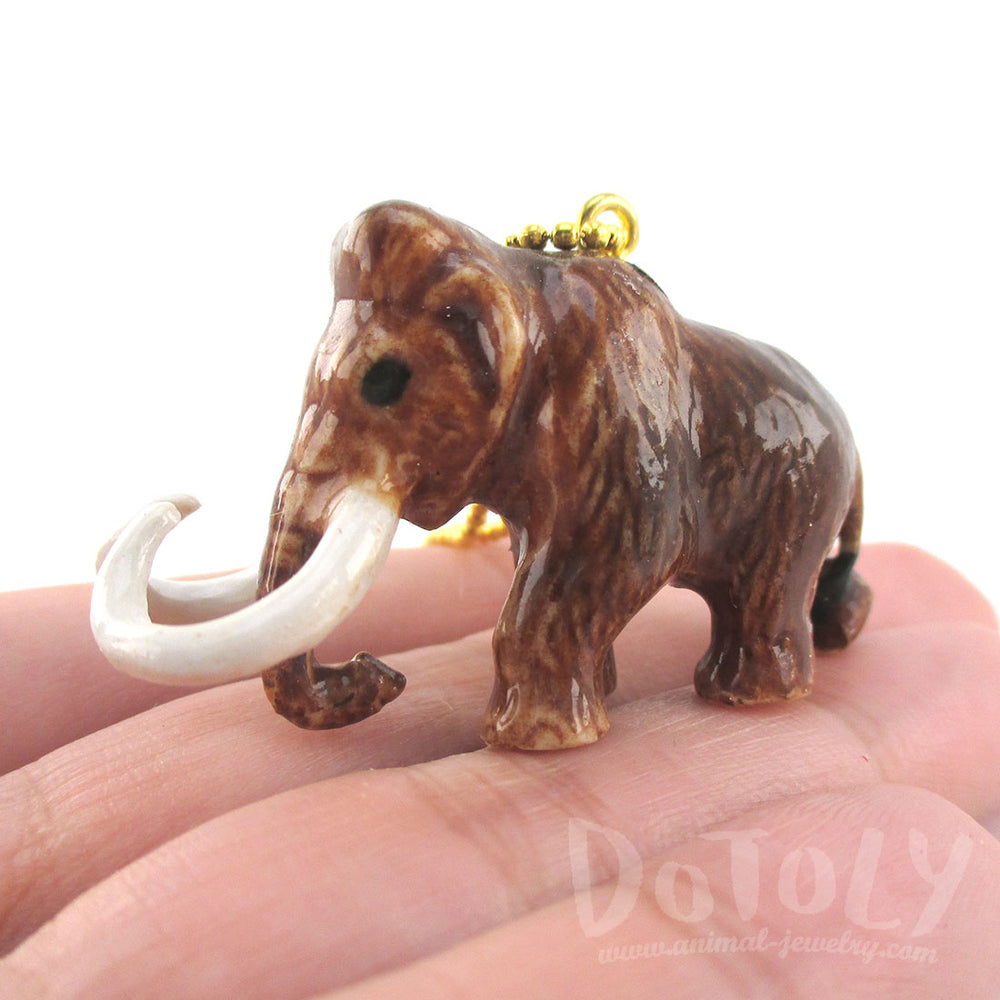 3D Porcelain Woolly Mammoth Shaped Ceramic Pendant Necklace | DOTOLY