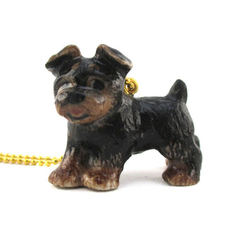 3D Porcelain Yorkshire Yorkie Terrier Dog Shaped Ceramic Animal Pendant Necklace