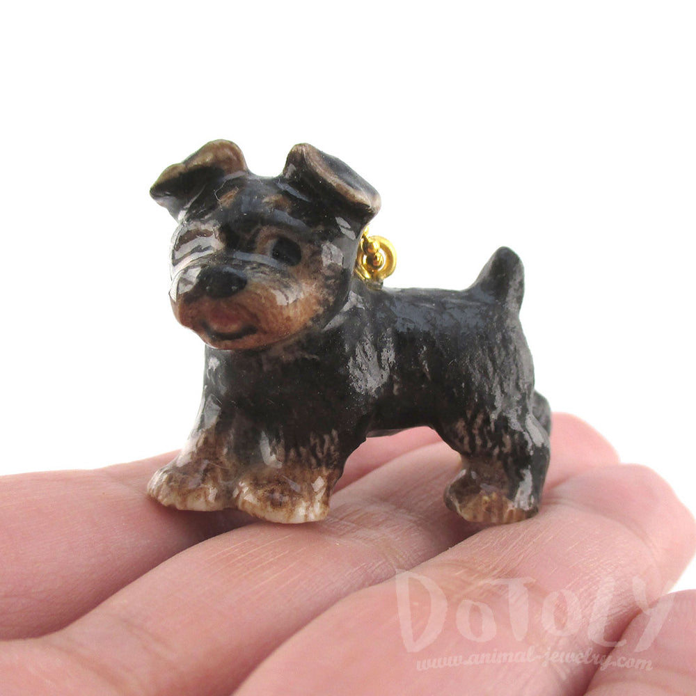 3D Porcelain Yorkie Yorkshire Terrier Shaped Pet Themed Necklace
