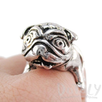 3D Pug Puppy Dog Shaped Adjustable Animal Ring in Silver | DOTOLY