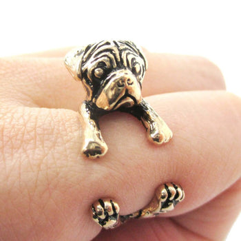 3D Pug Puppy Dog Shaped Animal Wrap Around Ring in Shiny Gold | Sizes 4 to 8.5 | DOTOLY