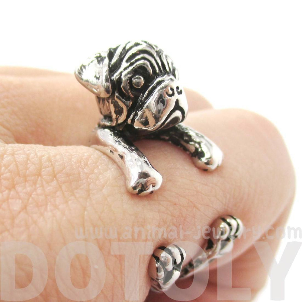 3D Pug Puppy Dog Shaped Animal Wrap Around Ring in Shiny Silver | Sizes 4 to 8.5 | DOTOLY