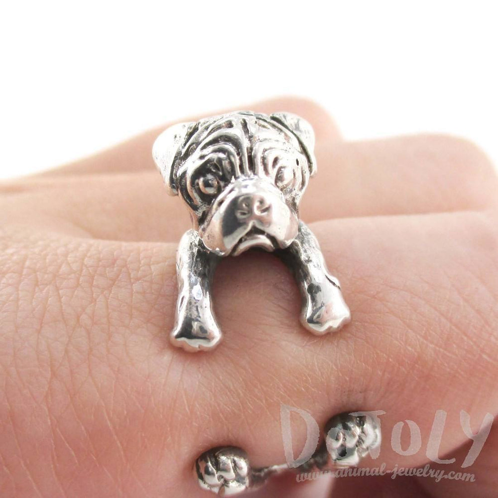 3D Pug Puppy Dog Shaped Animal Wrap Ring in 925 Sterling Silver | Sizes 4 to 8.5 | DOTOLY