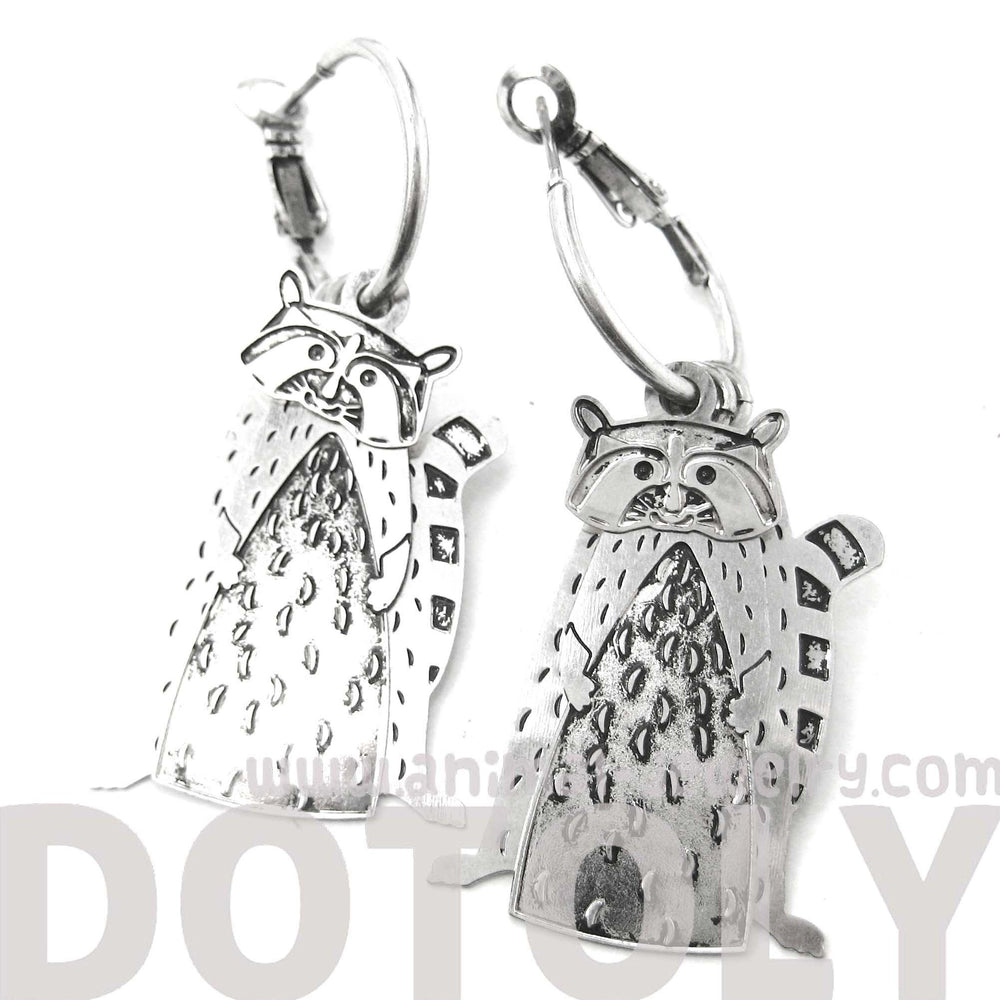 3D Racoon Shaped Animal Dangle Hoop Earrings in Silver | Animal Jewelry | DOTOLY