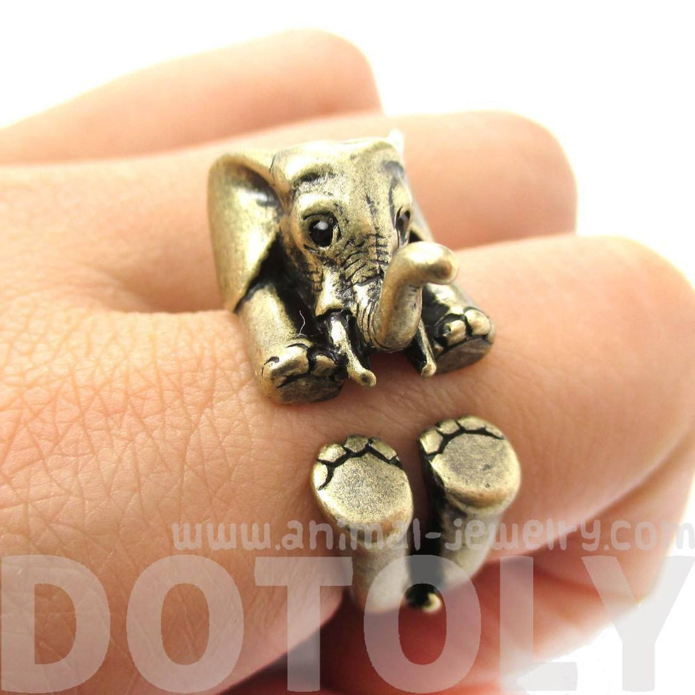 3D Realistic Baby Elephant Animal Wrap Around Ring in Brass | US Sizes 5 to 8.5 | DOTOLY