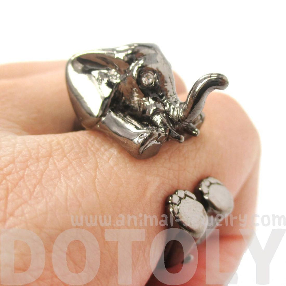 3D Realistic Baby Elephant Animal Wrap Around Ring in Gunmetal Silver | US Sizes 5 to 8.5 | DOTOLY