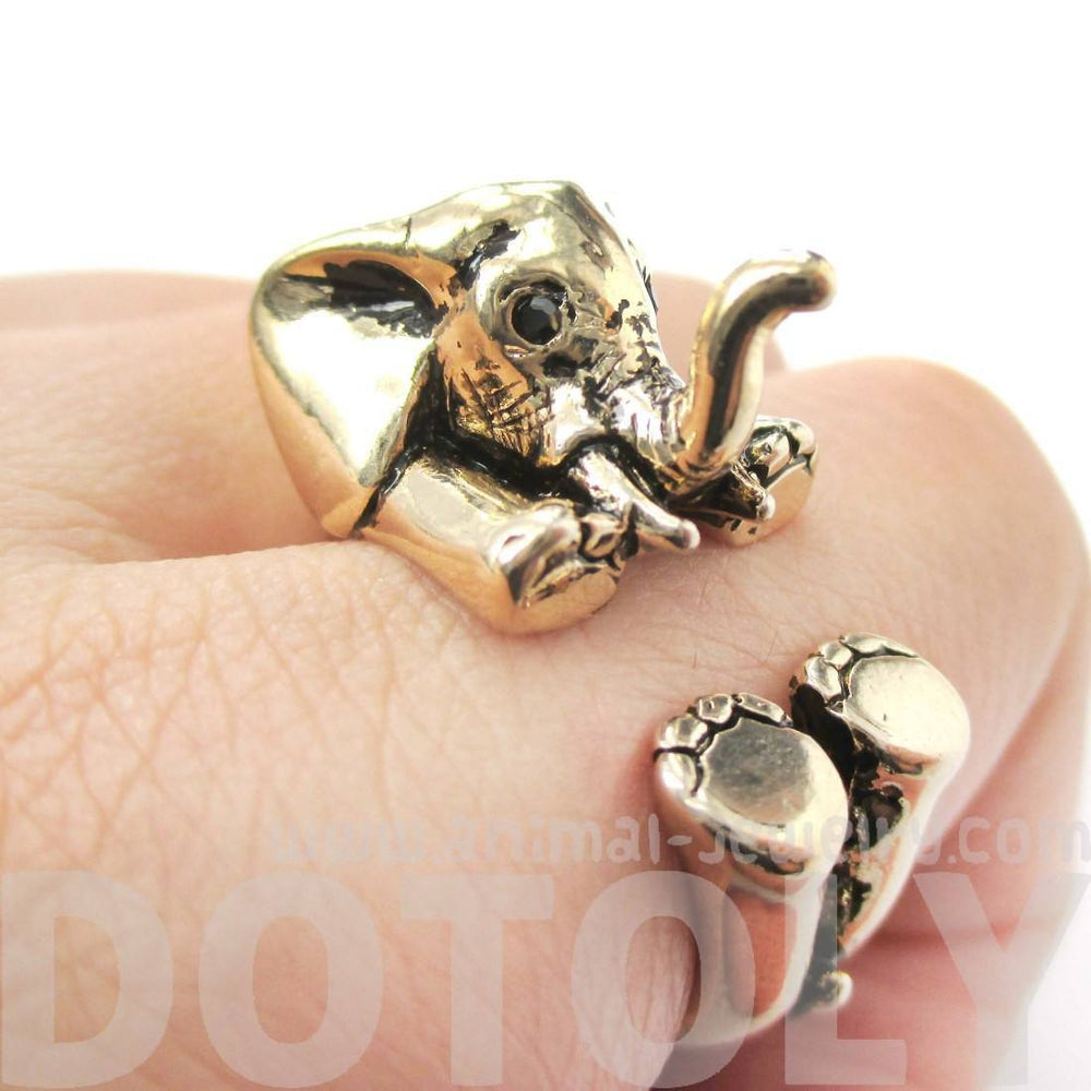 3D Realistic Baby Elephant Animal Wrap Around Ring in Shiny Gold | US Sizes 5 to 8.5 | DOTOLY