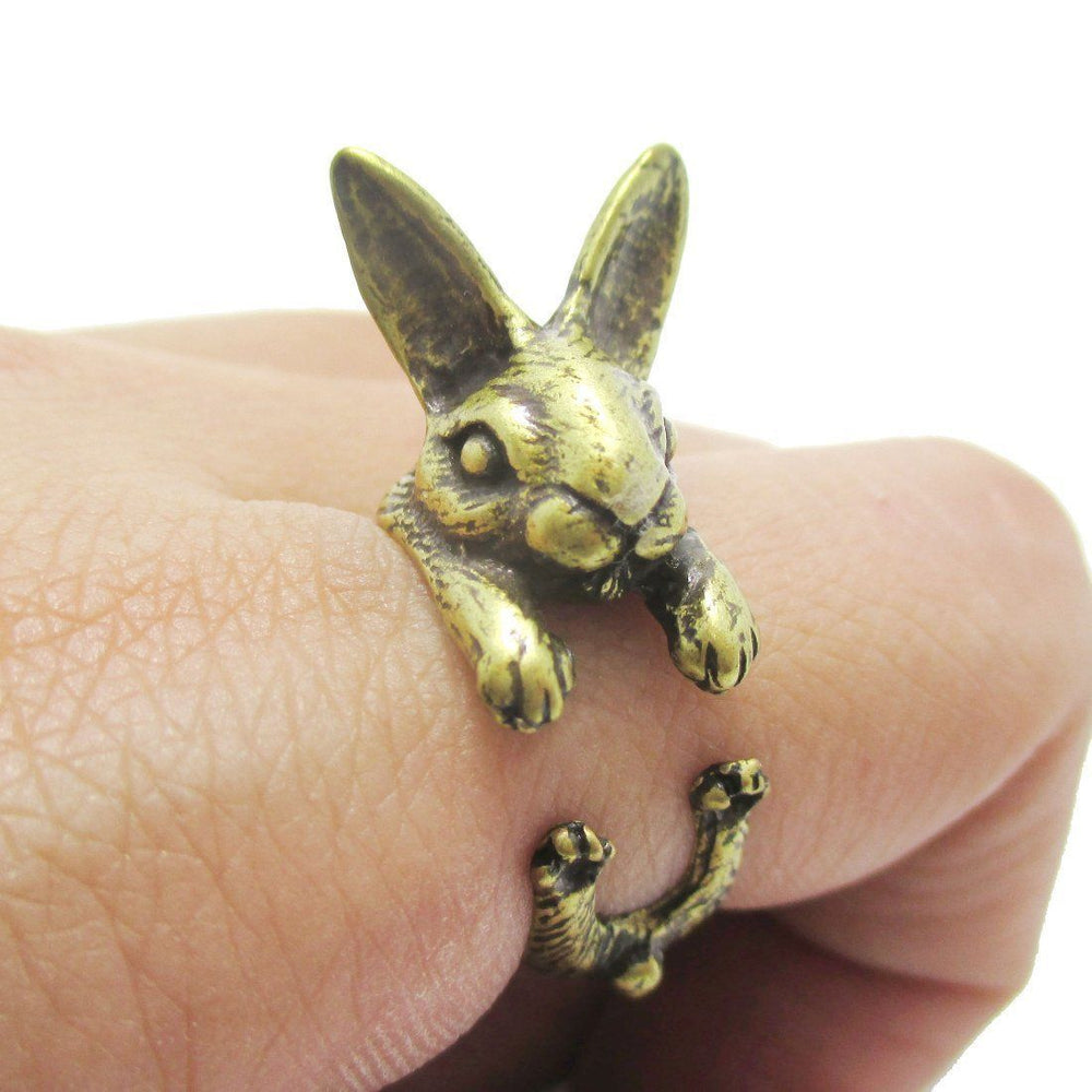 3d bunny rabbit hare shaped animal wrap ring in brass dotoly