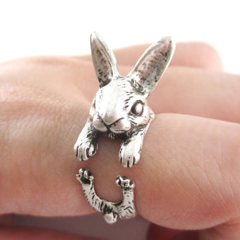 3D Realistic Bunny Rabbit Hare Shaped Animal Wrap Ring in Silver | US Sizes 6 to 9 | DOTOLY