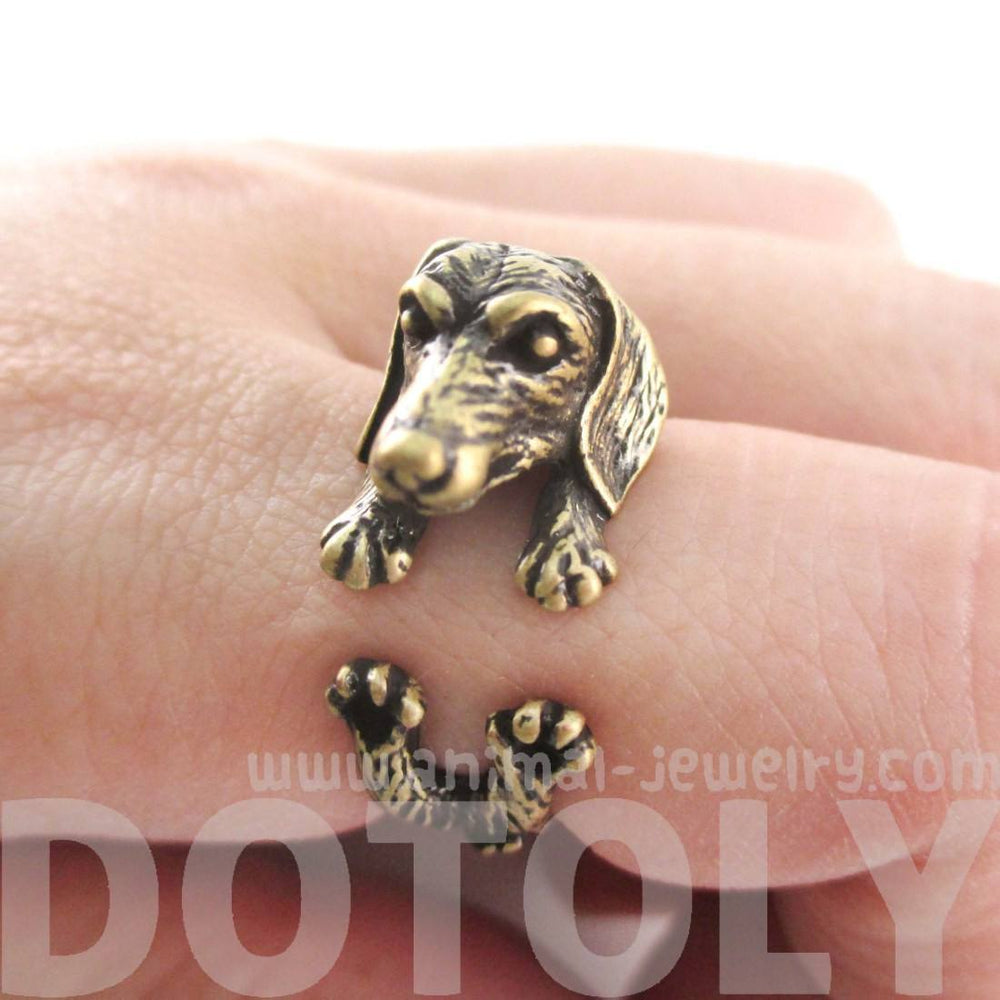 3D Realistic Dachshund Puppy Sausage Dog Shaped Animal Wrap Ring in Brass | US Sizes 5 to 8 | DOTOLY