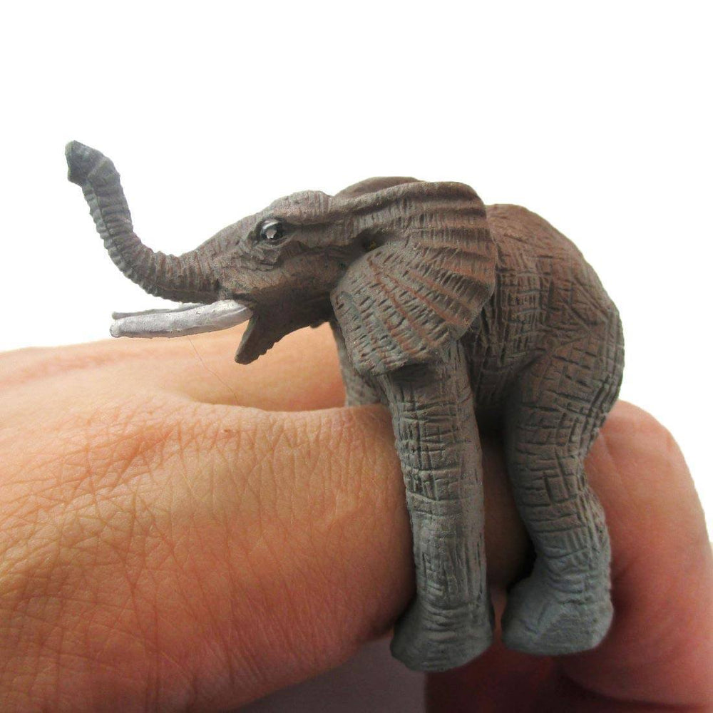 3D Realistic Elephant Figurine Shaped Animal Wrap Ring for Kids | US Size 3 to size 5 | DOTOLY