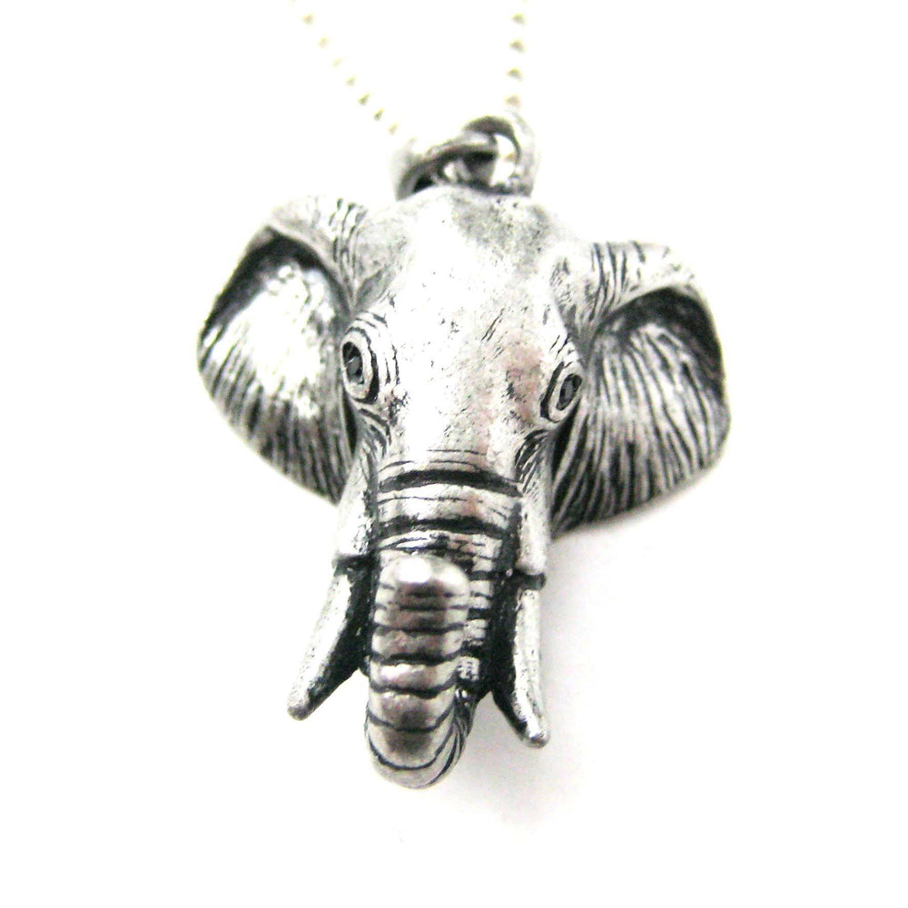 3D Realistic Elephant Head Animal Pendant Necklace in Silver | DOTOLY
