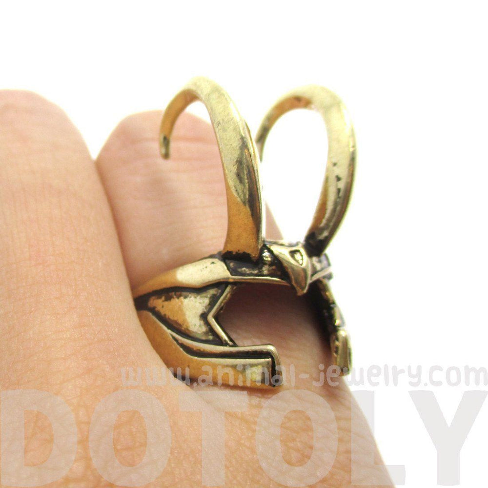 3D Realistic Loki Helmet Shaped Adjustable Ring in Shiny Gold | Avengers Themed Jewelry | DOTOLY