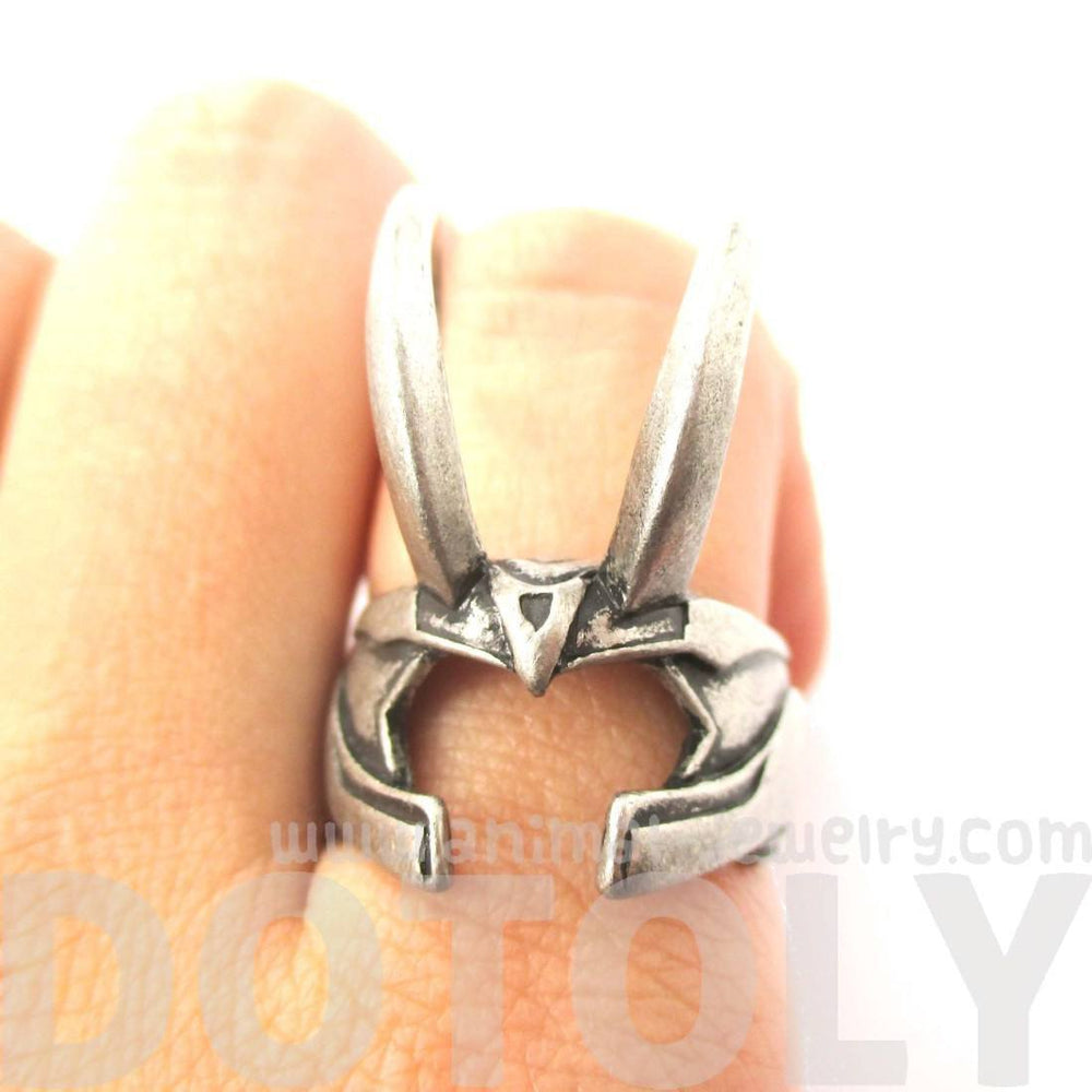 3D Realistic Loki Helmet Shaped Adjustable Ring in Silver | Avengers Themed Jewelry | DOTOLY