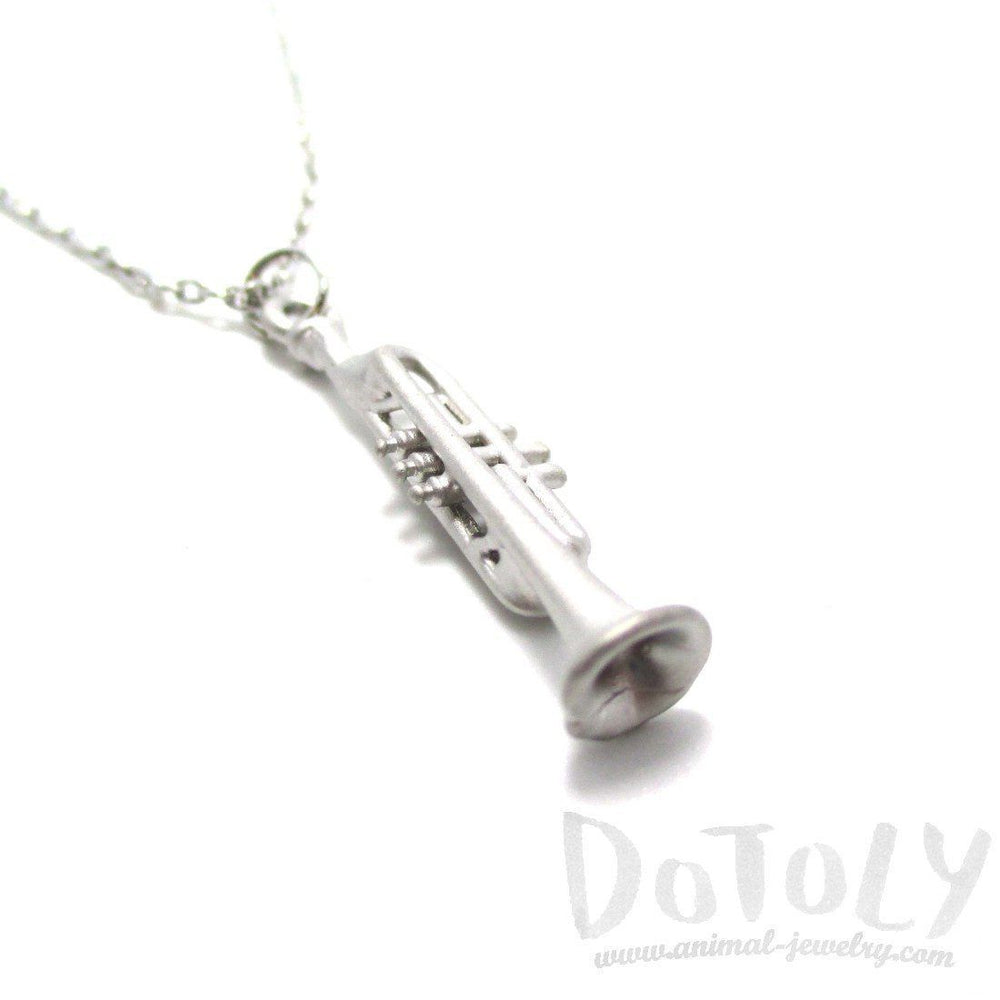 3D Realistic Musical Instrument Trumpet Shaped Pendant Necklace in Silver | DOTOLY