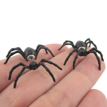 3D Spider Tarantula Bug Shaped Front and Back Stud Earrings in Black