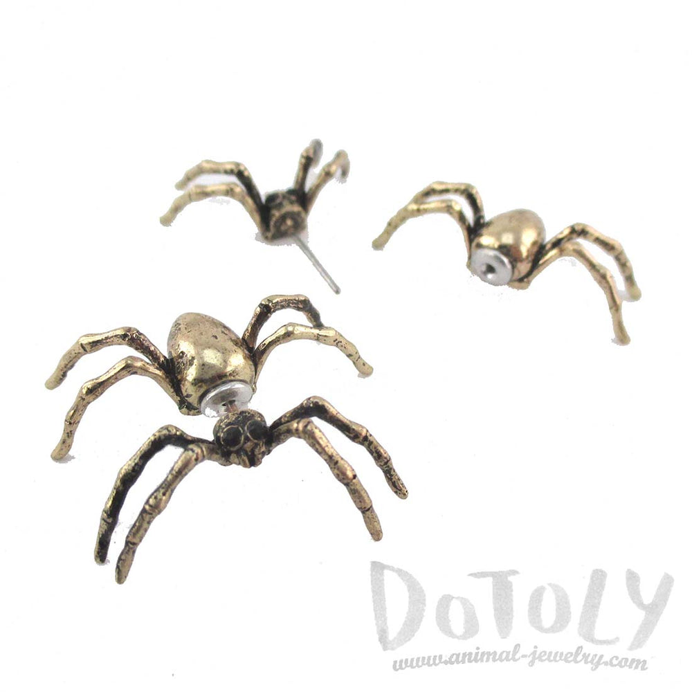 3D Spider Tarantula Bug Shaped Front and Back Stud Earrings in Brass