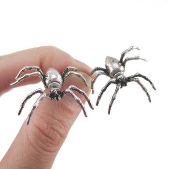 3D Spider Tarantulas Bug Shaped Front and Back Stud Earrings in Silver