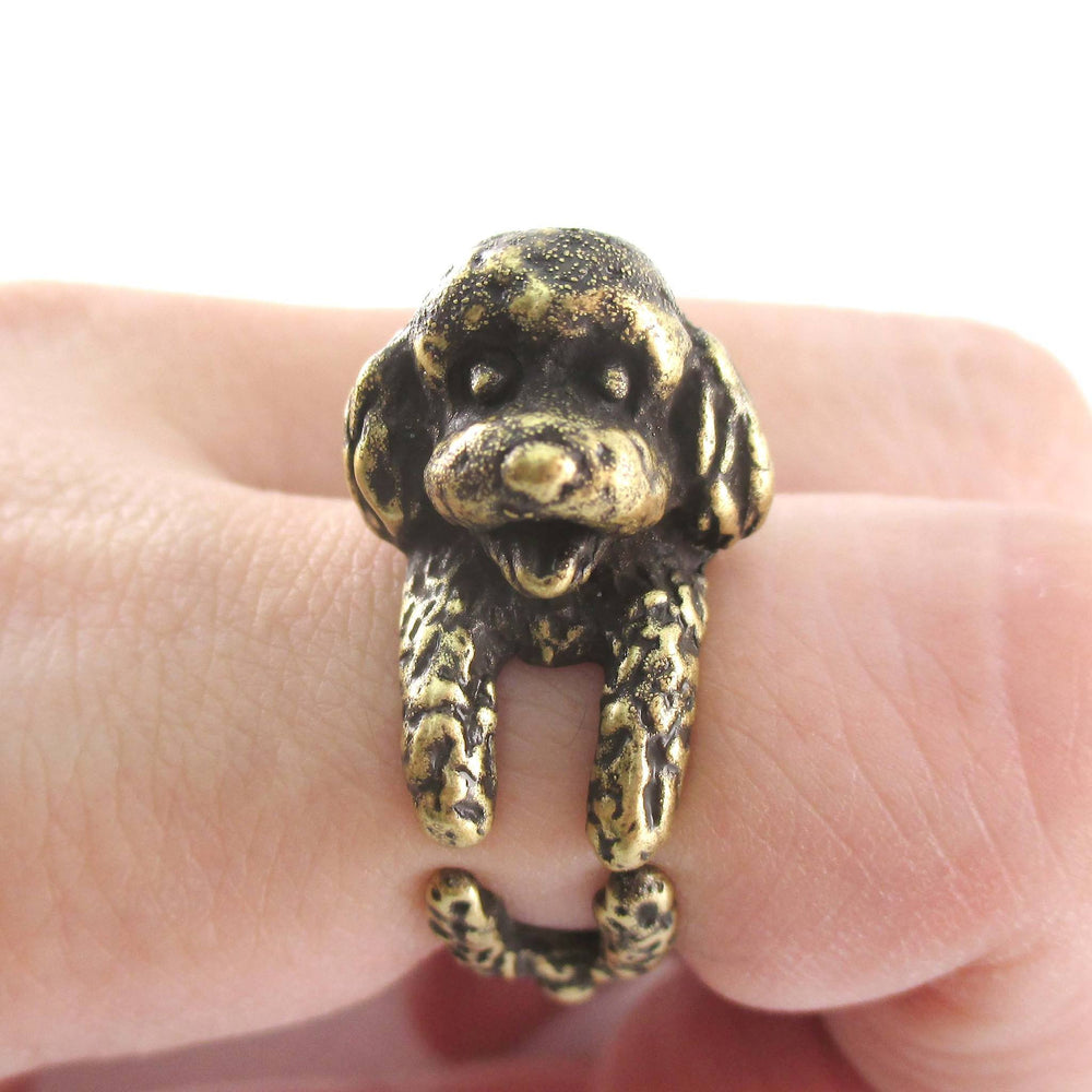 3D Realistic Toy Poodle Puppy Dog Shaped Animal Wrap Ring in Brass | US Sizes 5 to 8 | DOTOLY
